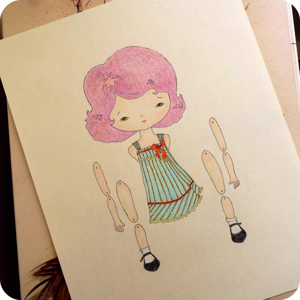 Violet - Articulated Paper Doll Print