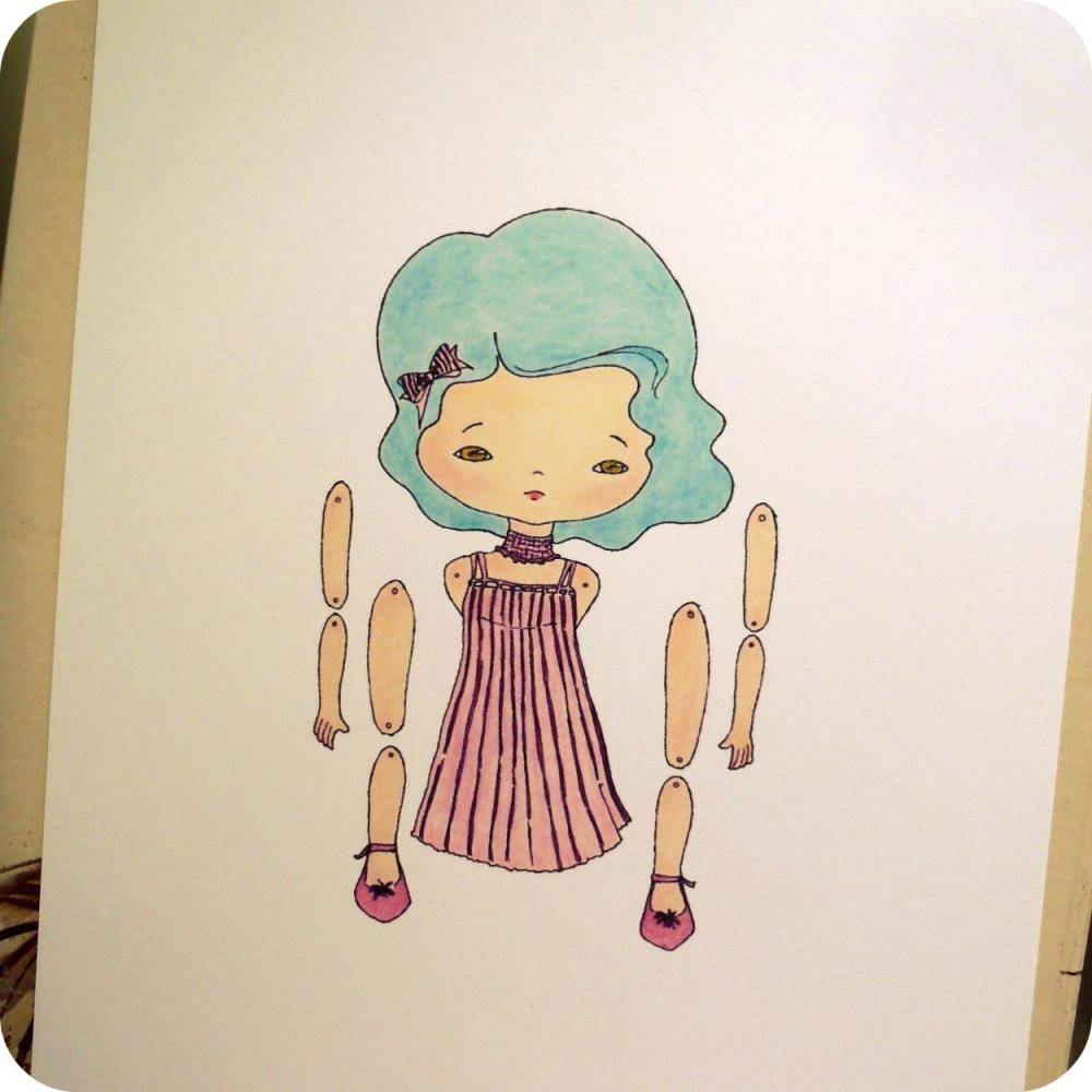 Azure - Articulated Paper Doll Print
