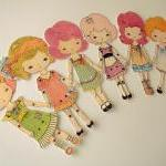 Set of Six Colour-Your-Own Printable Paper Dolls